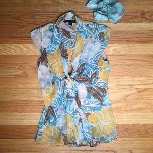 Express Design Studio Silk Tie Peplum Style Blouse
